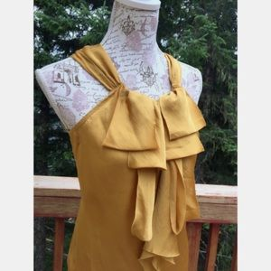 Silky Mustard Yellow Ruffled Front Halter Tank Top